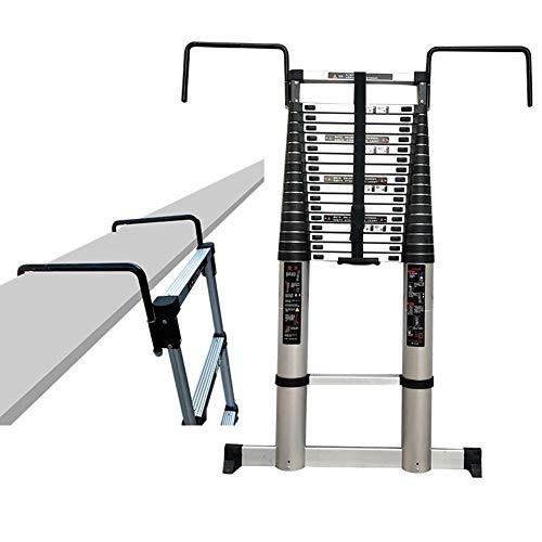 Escalera extensible Escalera telescópica Escalera telescópica alta de 5 m / 6 m / 7 m / 8 m con gancho extraíble y barra estabilizadora, escalera de extensión de aluminio para la fábrica industrial de