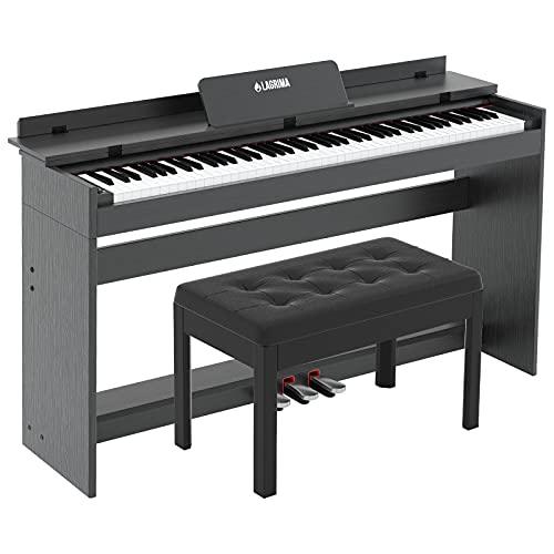 LAGRIMA M-309 Digital piano mit 88 Tasten in voller Größe, mit Klavierbank, elektrisches Keyboard mit eingebauten Lautsprechern, Notenständer, 3 Pedalen, MIDI/USB, für Anfänger oder Erwachsene schwarz