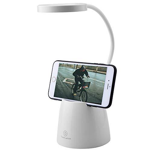 VUENICEE Lámparas de Escritorio LED,Lámpara de Mesa Recargable USB,Lámpara de Lectura Regulable con 3 Brillos, para Estudio de Oficina En Casa Soporte Teléfono Móvil/Soporte Bolígrafo