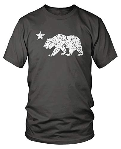 Amdesco Men's California Flag Bear Logo T-Shirt, Charcoal Grey XL