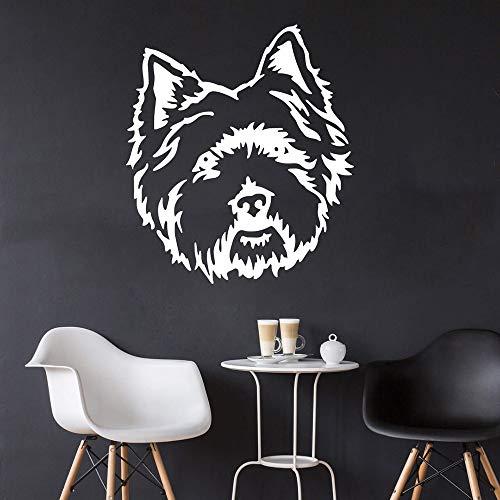 hetingyue western witte dog bloem grote terrier huisdier hond puppy hond vinyl muursticker woonkamer slaapkamer