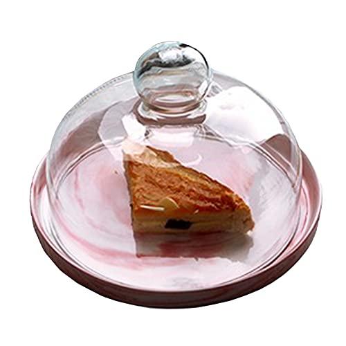 SWWS Soporte para tartas, soporte para servir, plato para postres, bandeja para servir multifuncional con tapa de cristal transparente, superficie lisa, superficie de fruta, color rojo coral