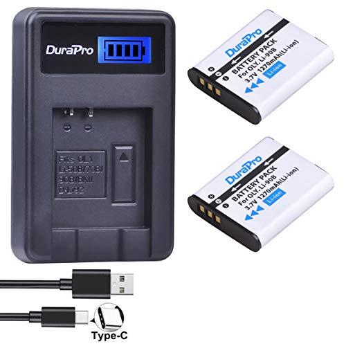 Durapro LI-90B / LI-92B Batterien + LCD-USB-Ladegerät für Olympus Tough TG-5, TG-Tracker, SH-1, SH-2, SP-100 IHS, Tough TG-1 iHS, Tough TG-2 iHS, Tough TG-3, Tough TG-4,SH60, XZ-2 iHS Kamera