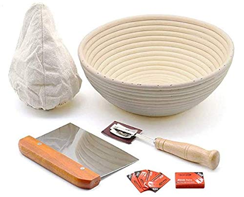 9inche Round Banneton Basket - Bread Dough Proofing - Basket with Washable Linen Cloth - Natural Handmade Rattan Bowl for Professional Home Bakers Included Bread Lame Bread Scraper
