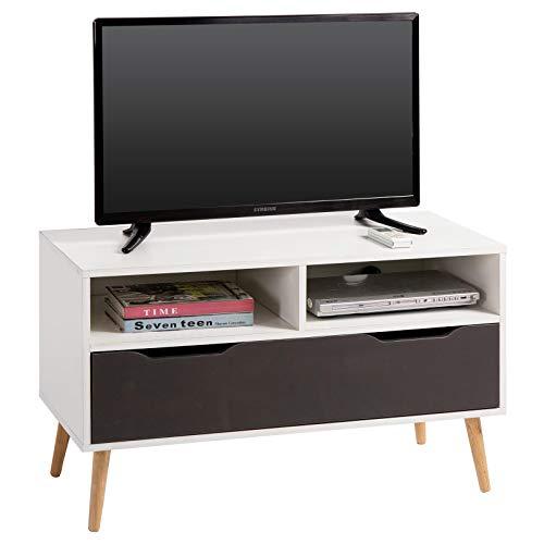 IDIMEX Meuble TV Genova Banc télé de 90 cm au Style scandinave Design Vintage avec 1 Grand tiroir et 2 niches, décor Blanc Mat et Gris Anthracite