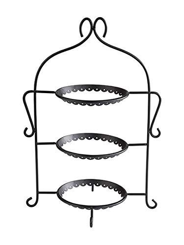 """APS Serviergestell """"Romantic"""", Gestell ohne Teller, für 3 Teller bis max. Ø 17,5 cm, Etagere, 22,5 x 16,0 x 32,0 cm, schwarz"""