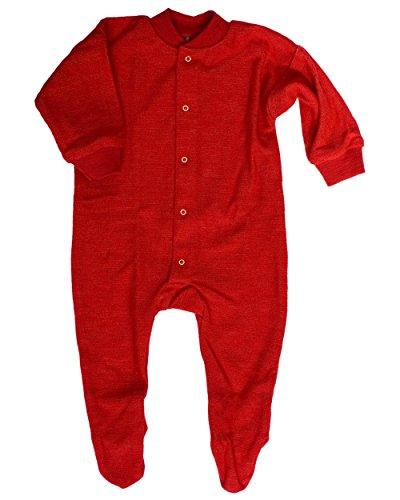 Cosilana, Schlafanzug/Strampler mit Fuß, 100% Wolle (kbT) (62, Rot)