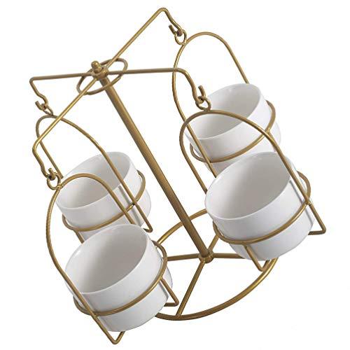 Happyyami 1 Juego de Soporte de Planta de Metal con 4 Macetas Suculentas de Cerámica Macetas de Carrusel Macetas de Interior Macetas Decorativas Modernas Suculentas Estante para La Oficina