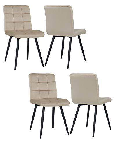 4er Set Esszimmerstuhl aus Stoff Samt Farbauswahl Stuhl Retro Design Polsterstuhl mit Rückenlehne Metallbeine Duhome 8043B, Farbe:Beige, Material:Samt