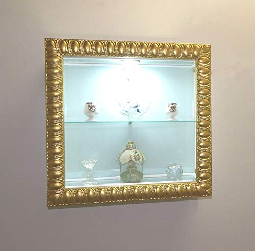 VM ART DESIGN GLASS Vitrine Cadre murales VMBR6T-QD50L-DS (Wood Gold Arabic Style and Colorglass White)