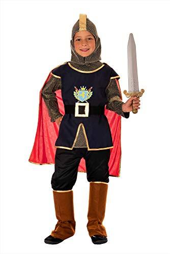 Magicoo mittelalterliches Ritterkostüm Kinder Jungen Gr. 110 bis 140 - König Ritter Kostüm Kind Fasching (122/128)