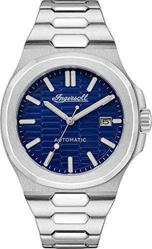 Ingersoll The Catalina Mens 47mm Automatic Watch in Blue with Analogue Display, and Silver Stainless Steel Strap I11801.