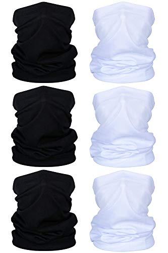 TOLOVIC Multifunktionstuch Halstuch Herren Schlauchschal Sommer Halstuch für Yoga Laufen Wandern Radfahren Motorradfahren (6 Stück-Schwarz,Weiß)
