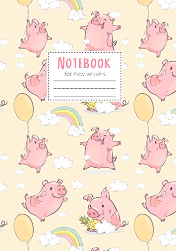 Notebook: Maggie Squeak Kids - When Pigs Fly Primary Notebook with Skip Line Ruling