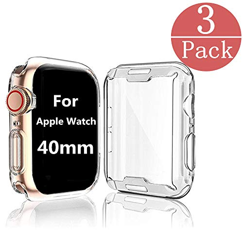 [3-Pack] Case Compatible Apple Watch Series 4 / Series 5 Screen Protector 40mm, iWatch Overall Protective Case TPU HD Clear Ultra-Thin Cover Compatible Series 4/5 (40mm)
