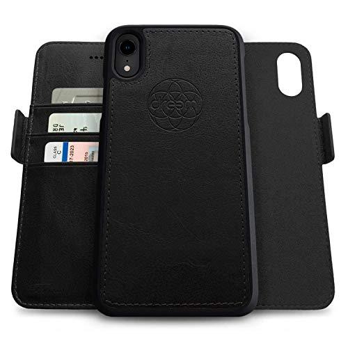 Dreem Fibonacci 2-in-1 Wallet-Case for Apple iPhone XR - Luxury Vegan Leather, Magnetic Detachable Shockproof Phone Case, RFID Card Protection, 2-Way Flip Stand - Black