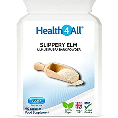 Slippery Elm 300mg 90 Capsules (V) Digestive Health. Acid Reflux Support. Vegan. Made by Health4All