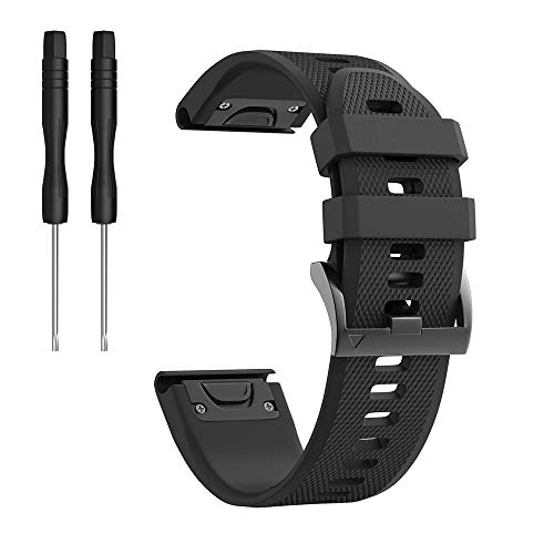 Check Out This Compatible Fenix 6 Bands, Easy Fit Mechanism 22mm Width Soft Silicone Watch Strap Ban...