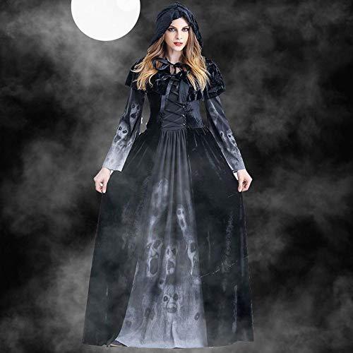GBYAY Disfraces de Halloween Cosplay Disfraz de Bruja Aterrador para Mujer Disfraz de Mascarada Medieval Vestido Largo Negro