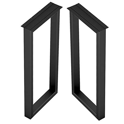Zwarte Vierkante Zware Metalen Tafelpoten, Midden Van Eeuw Moderne Stijl Doe-het-zelf Meubelpoten Voor Salontafelpoten Bureaupoten, Met Schroef Rubberen Vloerbeschermers, Set Van 2