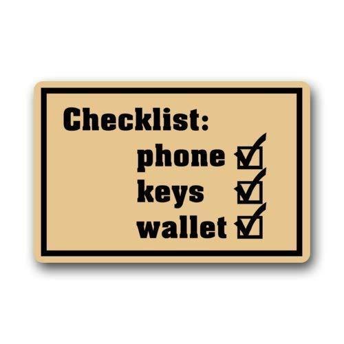 dingjiakemao grappige humoristische deurmat, checklist telefoon sleutels portemonnee ontwerp binnen ingang vloermat deurmat 23,6 x 15,7 inch (40x60cm)