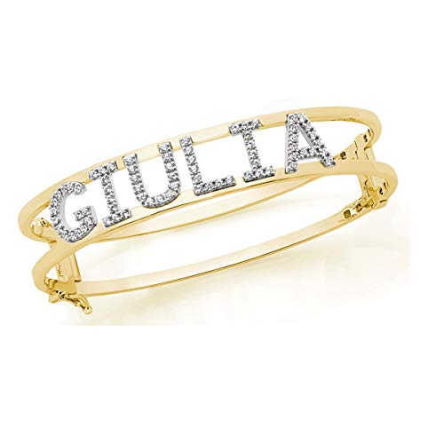 Pulsera esclava/esposa de plata personalizable con nombre, números o letras. amarillo