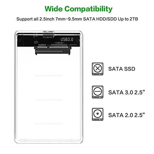 『透明な 2.5インチ HDDケース USB 3.0接続 SATA対応 HDD/SSD 外付け ドライブ ケース ネジ&工具不要 簡単着脱 Windows/Mac/Linux等適用』の2枚目の画像