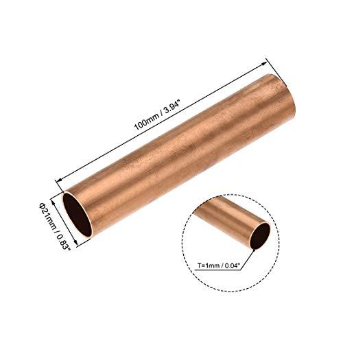 1PCS Kupferrundrohr 21mm X 1 mm X 100 mm Hohl gerades Rohr, verwendet for Kühlwasser Heizung Werkzeug Generator Copper Tube-Kabel-Switch-Geräte-DIY (Size : 21mm x 1mm x 100mm)