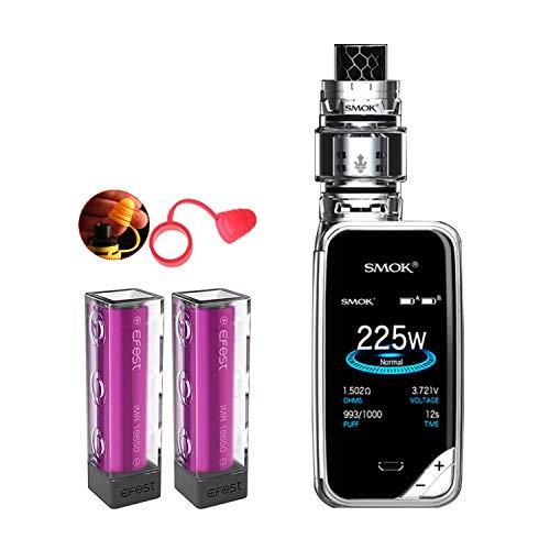 E-Zigaretten, Original Smok 225W X Priv Kit mit TFV12 Prince 8ml Tank,Bunt Bildschirm Verdampfer Starter Set und 2 * 3000mAh Efest-Batterien, Ohne E-Liquid, Ohne Nikotin (Prisma Chrom)