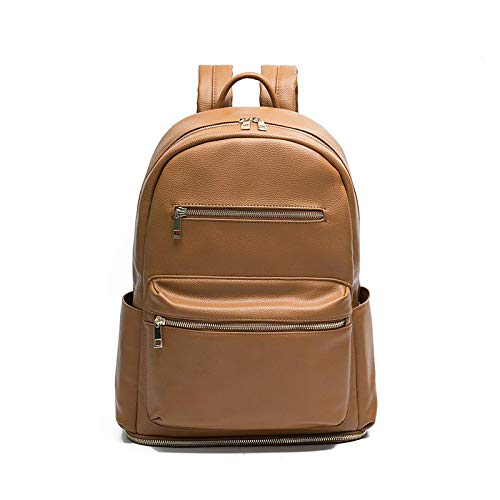 Baby Changing Bag Backpack Miss Fong Leather Nappy Changing Backpack Diaper Bags with Insulated Pockets Baby Bags for Mom and Dad, Maternity Bag with Bottom Compartment Pocket-Brown