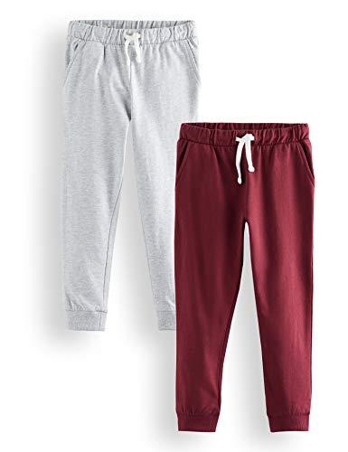 Amazon-Marke: RED WAGON Jungen Boys 2 Pack Jogger Hose, Mehrfarbig (Grey Melange Tawny Port(19-1725 TCX), 104 (Herstellergröße: 4), 2er-Pack