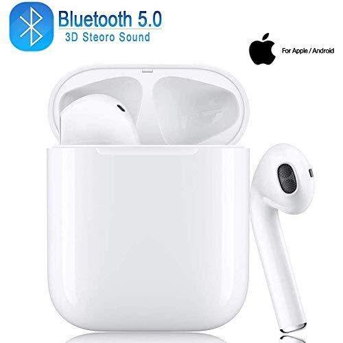 Auricular Bluetooth 5.0, Auriculares inalámbricos 3D Estéreo HD, Auriculares Impermeables con Micrófono, con Estuche de Carga Portátil para Apple/AirPods/iPhone/Android/Samsung