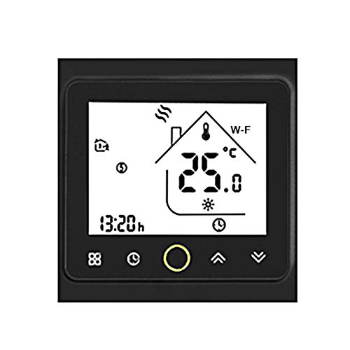 Termostato inteligente digital con Wi-Fi, aplicación de control por voz, 5 A, calefacción de pared, calentador de agua caliente, compatible con Alexa/Google para casa, blanco