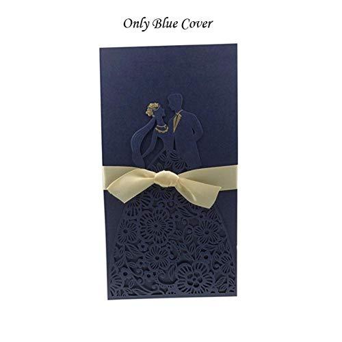 Piero 1PCS Bruid Bruidegom Trouwkaarten Kaart Enveloppen Met Lint Bruiloft Feestartikelen, Alleen Blauwe Kaft