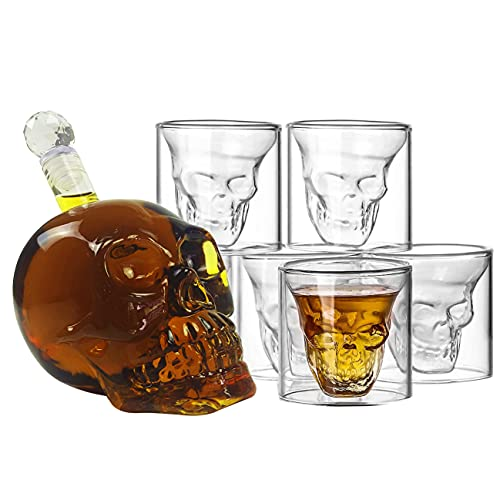 DUEBEL Juego de decantador de calavera con 6 vasos de chupito de cráneo, decantador de whisky, licor y alcohol, Decantadores de vino, accesorios para carrito de habitación
