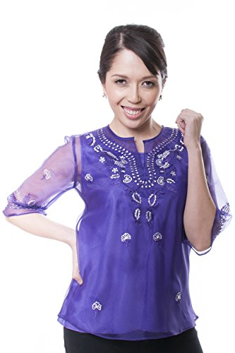 BW Filipino Women's Kimona Purple 001 - Filipiniana