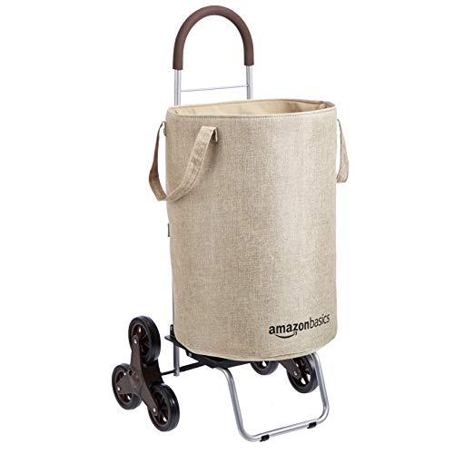 AmazonBasics – Cesto para colada con carrito con ruedas para subir escaleras, mango de 96,5cm de altura, beis