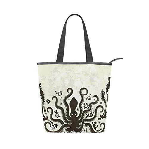 Bolso de lona con cierre de cremallera grande para mujer, diseño de pulpo de dibujos animados, reutilizable, multiusos, resistente, para compras al aire libre
