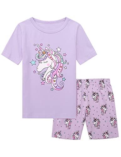 Bricnat Mädchen Schlafanzug 152 Pyjama Einhorn Nachtwäsche Kurzarm Sommer Baumwolle Violett