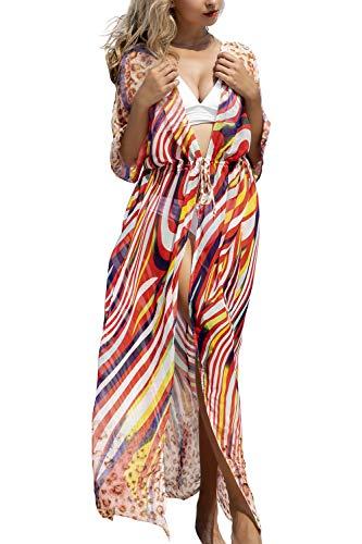 AiJump Femmes Chiffon Bohème Kimono Pareo Maillot de Bain Cover Ups Plage Longue Robe