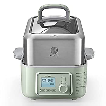 BUYDEEM G563 5-Quart Electric Food Steamer for Cooking One Touch Vegetable Steamer Digital Multifunctional Steamer Quick Steam in 60s Stainless Steel Steamer Tray & Glass Lid Cozy Greenish 1500W