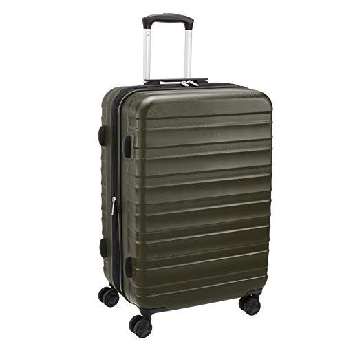 Amazon Basics - Maleta de alta calidad, rígida y sólida, 56 cm, verde