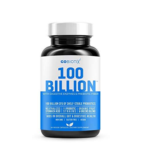 100 Billion by GoBiotix | Probiotics, Prebiotics & Digestive Enzymes Blend | High Potency with 100 Billion CFU | Enhanced with Organic Fruit & Organic Greens Blend | Vegan/Non-GMO | USA Made ● 30 Caps
