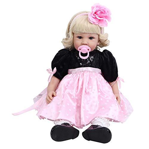 Boneca Reborn Baby Doll de 61 cm de vinil macio realista de silicone flexível com peso total, boneca Reborn realista com vestido Pnik e acessórios de brinquedo para meninas de 3 anos de idade (1#)