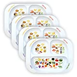 Kid's Healthy Learning Plate | Divided Portion Control for Toddlers & Children | Learn Nutrition & Food Groups | Colourful Sections for Fussy Eaters | Child-Friendly Melamine, Dishwasher-Safe (4 Pack)