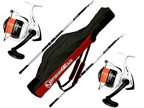 EVO FISHING Combo Kit surfcasting, 2 Long Cast 3.90 200 GR + 2 Mulinelli Supreme CX 8000 5BB + Fodero in Cordura Surfcasting Team 175 cm