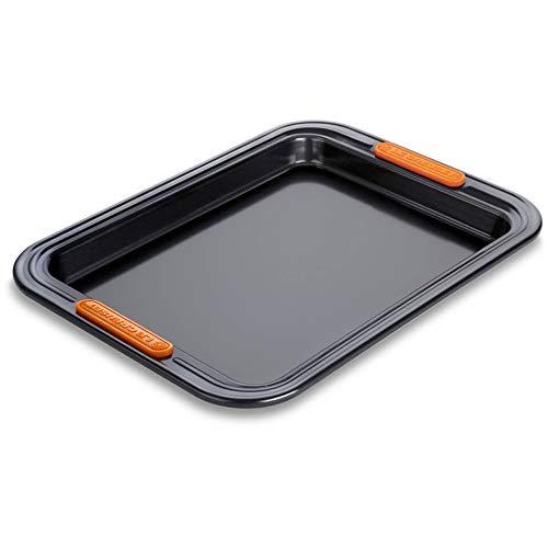 Le Creuset Bandeja para hornear antiadherente reforzada rectangular pequeña, 32,2 x 24 x 2,58 cm, Negro Mate,94103433000000