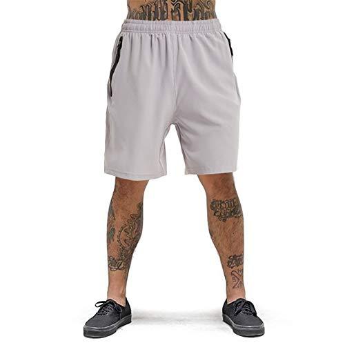 Men's Running Short Gym Workout Deep Side Reflective Zipper Pocket Quick Dry Beach Athletic Swim Short 7' Light Grey L