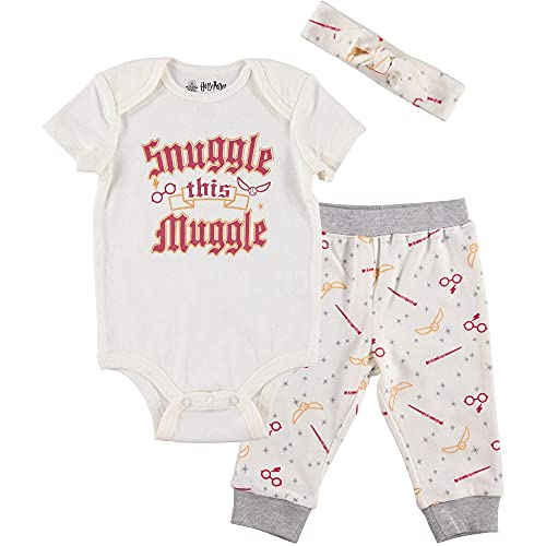 Harry Potter Baby Girls Layette Set: Body, pantalones y diadema - blanco - 12 meses