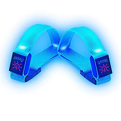 BSEEN 1 Pack for 2 PCS LED Armband, Running armabnd, led Bracelet Glow in The Dark-Safety Running Gear.Use (Fluorescent Blue)